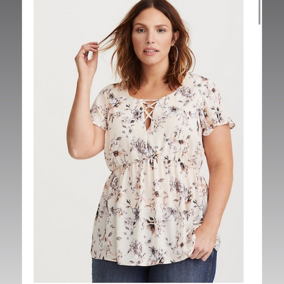 torrid Tops - Ivory Floral Georgette Lattice Babydoll